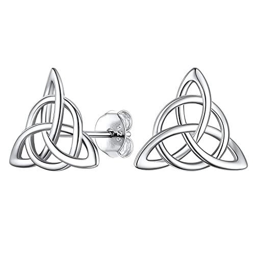 PROSILVER Plata 9.25 Pendientes Mujer Nudos Celta Triangular con Circulo, Pendientes Boton Piercing