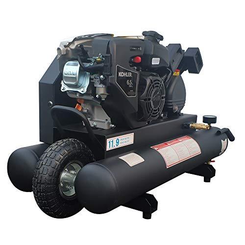 HPDAVV Gas Driven Piston Air Compressor 6.5HP - One Stage - 9.5Gal Twin Tank - 11.6cfm @ Max 125psi - fit for KOHLER Engine Wheelbarrow Twin Pontoon Portable Heavy Duty Compressor