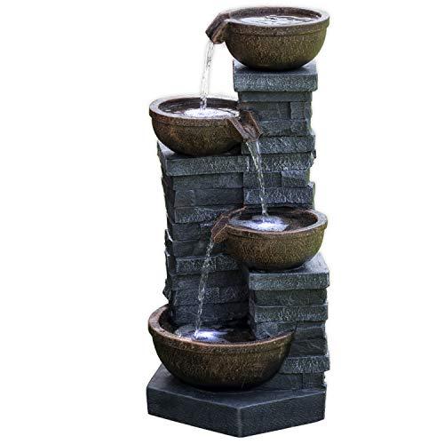 Köhko® Springbrunnen mit LED-Beleuchtung Connewitz 13013 Wasserspiel für Garen Terrasse Balkon Wohnzimmer