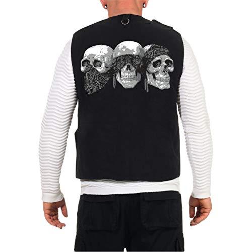 Spaß kostet Sommer Weste Brotherhood Patch Totenköpfe Skull für Outdoor mit vielen Taschen