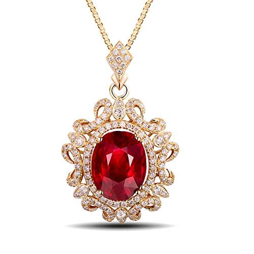 AtHomeShop Real Gold Collection, 18K Yellow Gold Necklace, Flower Shape Clavicle Chain with Shiny 2.5ct Oval Tourmaline and Diamond Pendant for New Year Gift, Yellow Gold