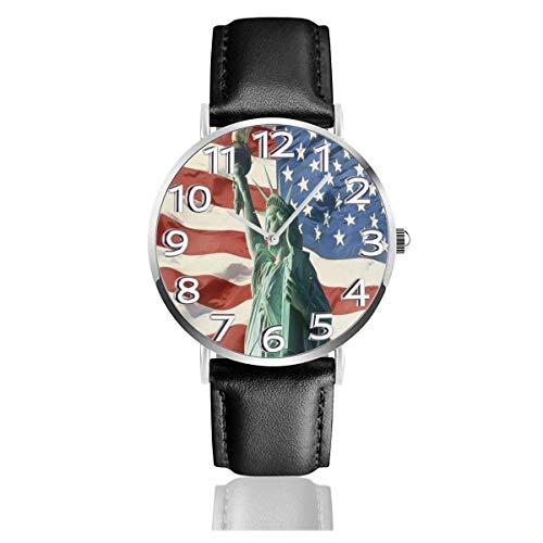 Reloj de Pulsera Estatua de la Libertad en la Bandera de EE. UU. Durable Correa de Cuero PU Relojes de Negocios de Cuarzo Reloj de Pulsera Informal Unisex