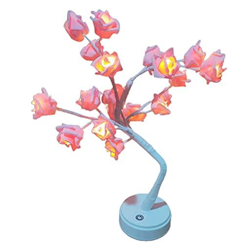 Qirun Luces de Mesa de árbol de Rosas LED, Regalo con Pilas USB para niñas y Mujeres, Luces de Noche LED para Decoraciones de Bodas y Fiestas en casa