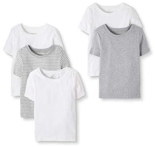 Moon and Back by Hanna Andersson Lot de 5 T-shirts à col rond en coton bio pour tout-petits, enfants, gris, 4 ans (97-107 CM)