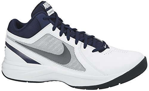 Nike Men's The Overplay VIII White, Metallic Grey, Navy and Black Basketball Shoes -9 UK/India (44 EU)(10 US)