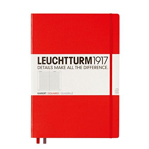 LEUCHTTURM1917 307358 Notizbuch Master Classic (A4+), Hardcover, 233 nummerierte Seiten, Rot, kariert