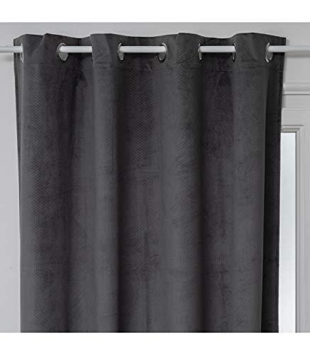 Atmosphera gordijn, ondoorzichtig, velours, grijs, reliëfmotief, 140 x 260 cm cm grijs.