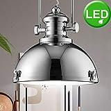 Lampada a sospensione a sospensione da soffitto industriale in stile industriale cromato nel set con lampadine a LED