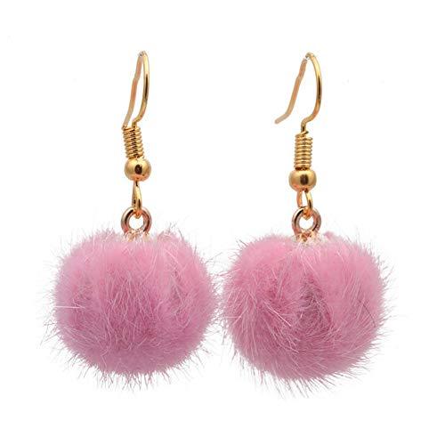 18K Gold Plated Blue/Red/Pink Mink Fur Plush Pompon Ball Earring Women Tassel Dangle Earrings (Pink)