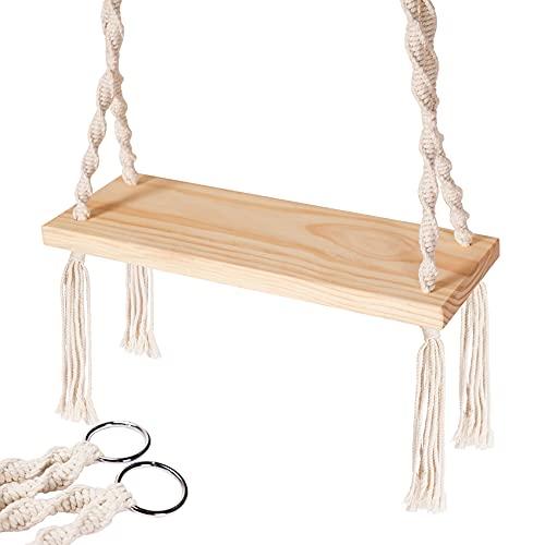 Wooden Swing, Hanging Tree Swings, WoodSwings Seat 21.7'x7.8'x1.2', 220 lbs Capacity Wood Durable,...