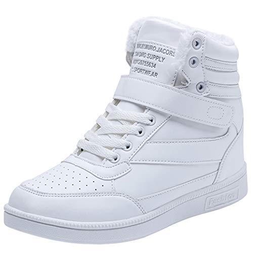 Wealsex Zapatillas de Cuña para Mujer Botas Botines Alta Zapatos Deportivos Oculto Talón Altura 3.5cm Interior Sneakers (37 EU, Forro de Felpa Blanco)