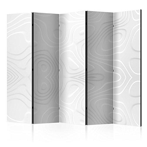 murando Raumteiler Abstrakt Foto Paravent 225x172 cm beidseitig auf Vlies-Leinwand Bedruckt Trennwand Spanische Wand Sichtschutz Raumtrenner Home Office weiß a-B-0059-z-c