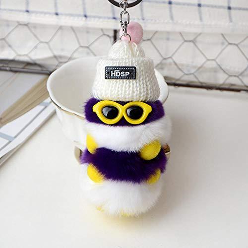 JJrainning Schlüsselanhänger Süße Sonnenbrille Hut Caterpillar Keychain Kaninchen Plüsch Pom Pom Keychain Zubehör Tier Auto Bag Charm Anhänger @ 3