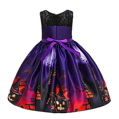 Dasongff - Disfraz de bruja para niña, disfraz de Halloween, vestido de princesa, vestido de fiesta, vestido de fiesta, vestido de noche, vestido de baile, elegante, vestido de fiesta 140 cm Lila-a
