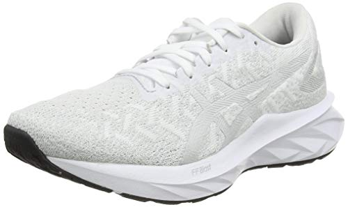 ASICS Womens Dynablast Running Shoe, White/Glacier Grey,40.5 EU