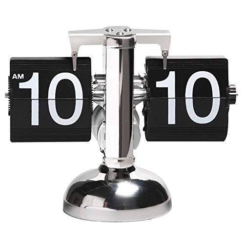 CSZZL Tischuhr Flip Uhr Retro Wecker Standuhr Schreibtisch Regal Design Uhr, Auto Flip Retro Tisch Uhren Metall, Europäischen Stil Dekoration Tischuhr( 8,26 * 6,29 * 3,14in) schwarz