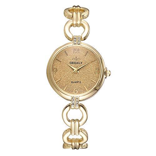 QYSZYG Reloj De Aleación De Moda Reloj De Pulsera De Cuarzo con Pantalla Analógica Y Esfera Redonda Oro