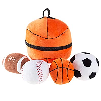 Hey! Play! My First Sports Bag Playset- Plush Soccer, Baseball, Basketball & Football for Babies, Infants & Toddlers- Gift Set with Storage Bag