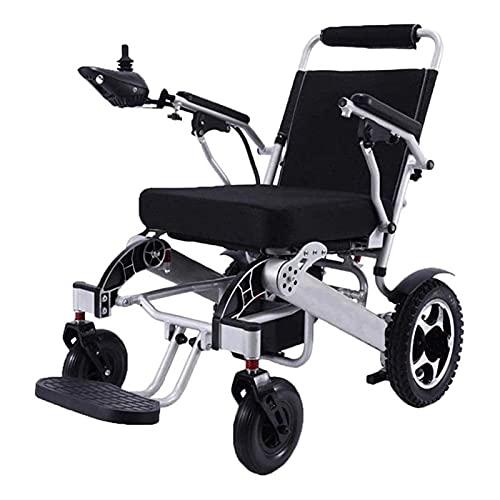 GLXLSBZ Silla de Ruedas eléctrica portátil Plegable Ligera y Plegable Silla de Ruedas de Ayuda de Movilidad compacta de Motor Dual Potente de Lujo (Regalos para Personas Mayores)