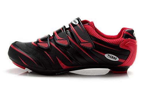 Tiebao - Scarpe da ciclismo, per bici da strada e da corsa, professionali, traspiranti, per uomo e donna, sistema compatibile con Look e SPD, Rosso (rosso), 39 EU