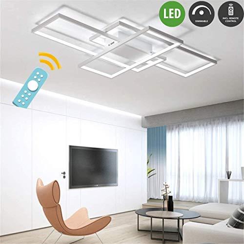 LED plafondlamp woonkamer lampen dimbaar plafondlamp hanglamp modern hoekig designer afstandsbediening lampen metaal acryl scherm plafond woonkamer lamp eettafel lamp badlamp 90 cm wit