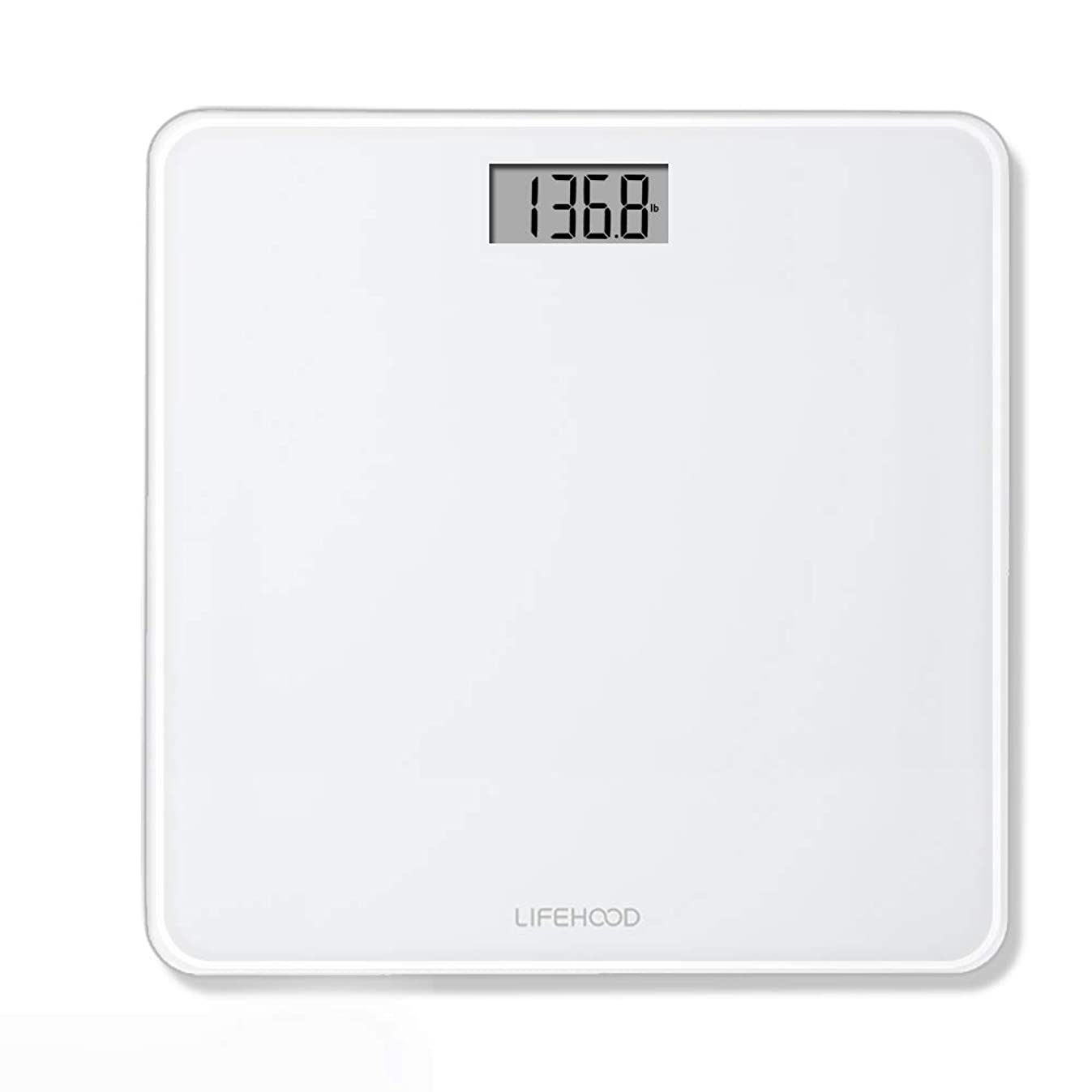 Scales for Digital Weight – 4 High Precision Sensors Body Weight Scale with Step On & Auto Calibrated & Auto ON/OFF Technology, Wide Sturdy Tempered Glass, Round Corner Design, 400 pounds