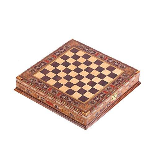 WYFX Tablero de Madera Maciza Natural de ajedrez Diseño de Perlas Alrededor del Tablero y Almacenamiento en el Interior 28x28x5.5 Cm Solo Tablero sin Pieza