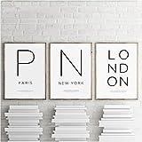 EDGIFT2 Simple Blanco y Negro París y Londres coordenadas Cartel Lienzo Pintura impresión Cuadros decoración del hogar 50x70cmx3 sin Marco