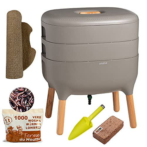 Urbalive Grijs, Complete Kit I Wormenbak Design I 500gr Compostwormen I Startersubstraat I Hennepmat + Schep I Binnen…
