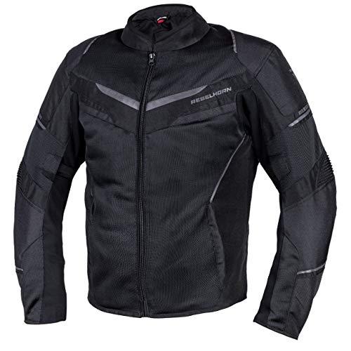REBELHORN Chaqueta de moto Flux para hombre, materiales duraderos, membrana L-XTR, protección de codos y hombros, bolsillos de ventilación, elementos reflectantes. Negro XXXXXL