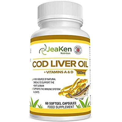 JeaKen - COD Liver Oil High Strength 1000mg Capsules - Natural Rich Source of Omega 3 Fatty Acids with Vitamins A and D - Heart Brain and Joint Care Supplement- 60 Gluten and Contaminant Free Softgels