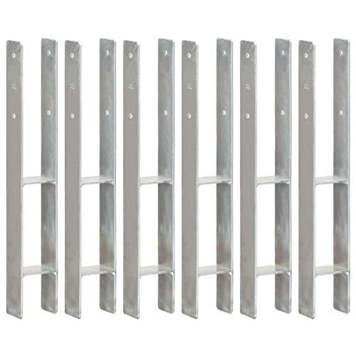 UnfadeMemory Pfostenträger H-förmig Zaunträger Feuerverzinkter Stahl Bodenhülse Pfosten Anker mit Vorgebohrten Löchern Silbern (6 Stk. 8x6x60 cm)