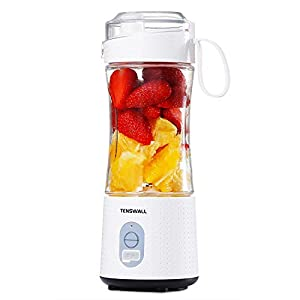 Tenswall Portable, Personal Size Smoothies and Shakes, Handheld Fruit Machine 13oz USB Rchargeable Juicer Cup, Ice Blender Mixer Home/Of, 380ML, White by Tenswall