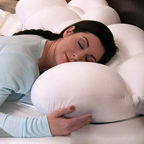 yaya 3D Allround Clouds Kissen Multifunktionales Schlaf-Ei-Kissen Memory Foam Weiches Nackenkissen Druckentlastung, Baby-Stillkissen, waschbare Reise-Nackenkissen (weiß) (2 STÜCKE)