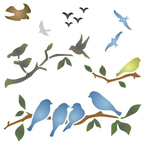 Oiseaux sur Branches Pochoir – réutilisable Bird Branch Silhouette Murale Pochoir – Utilisation sur Papier projets Scrapbooking Bullet Journal Murs sols Tissu Meubles en Verre Bois etc, Acrylique, L