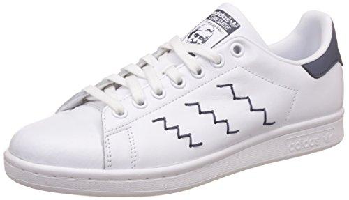 adidas Stan Smith W, Scarpe da Ginnastica Basse Donna, Bianco (Footwear White/Footwear White/Trace Blue), 36 2/3 EU