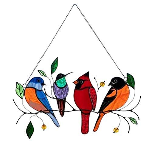 Colgantes de vidriera, pájaros en Rama, Panel de vidriera, Arte de Pared, Adornos de pájaros, atrapasueños Colgantes para Ventana, Puerta, decoración del hogar