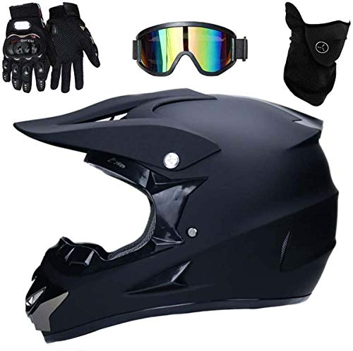 Off-Road Motorcycle Helmet Matte Black, with Goggles Mask And Gloves 4 Pack Sets Adult Downhill Helmet, Male And Female ATV Mountain Bike Quad Bikes (XL)