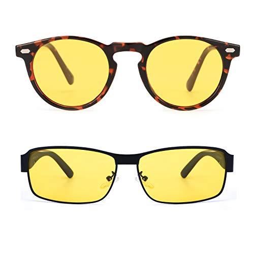 ELIVWR Night Driving Vision Glasses HD Nightguide for Men,Classic Rectangula Metal Framer Polarized Yellow Lens (Black Metal Frame)