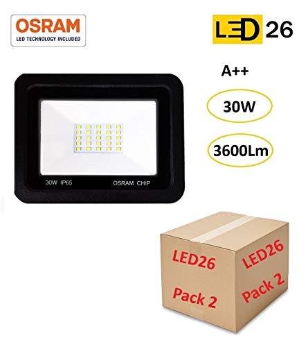 Pack 2 Focos LED exterior 30W OSRAM alto brillo Proyector