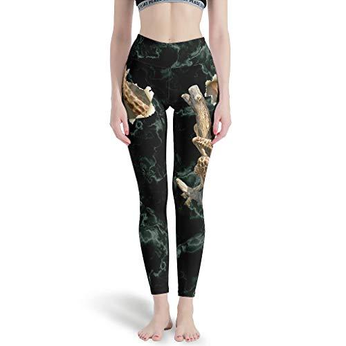 Huffle-Pickffle Pantalones de yoga divertidos Gira-ffe en el árbol, multicolor, duraderos, finamente procesados, pantalones de yoga para ropa de ocio, color blanco, XL