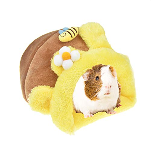 MuYaoPet Rabbit Guinea Pig Snuggle Sack Fleece Bed for Cage Small Animal Hamster Chinchilla Bed House for Squirrel Rat (L, Yellow Bee)