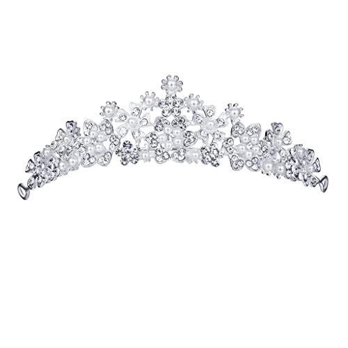 Corona de princesa de cristal con diamantes de imitacin, diadema de metal para el pelo, elegante corona llena de diamantes y flores, joya para mujer