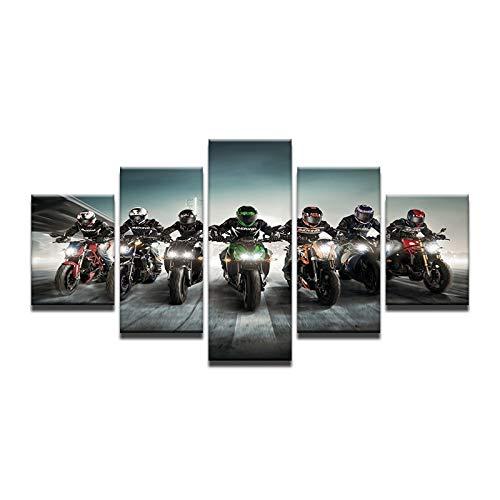 Gbwzz 5-delige canvasfoto op canvas, 5-delig, muurkunst, canvas, kunst, motorsport, olieverfschilderij, anime, prin, decoratie, zonder lijst No Frame 30x40 30x60 30x80cm