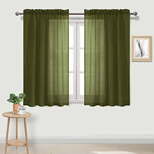 DWCN Sheer Gardinen Leinenoptik Stange Pocket Wohnzimmer Vorhänge Set 2 Stück Fenstervorhänge 52 x 54 inch olivgrün