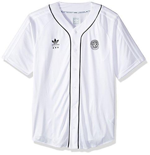 adidas Originals Men's Tops Skateboarding Baseball Jersey, White, Medium
