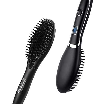 Hair Straightening Brush, Corded Veru ETERNITY Hair Straightener Brush with LED Display and MCH Heating Function, Ionic Ceramic Anti Static, Detangling, Silky Straightening Comb