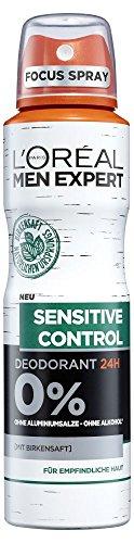 L'Oréal Men Expert Sensitive Control Deo Spray, mit Birkensaft 24H Schutz für empfindliche und sensible Männerhaut beugt Hautirritationen vor (6 x 150 ml)