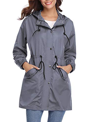 Aibrou Chaqueta Impermeable con Capucha para Mujer