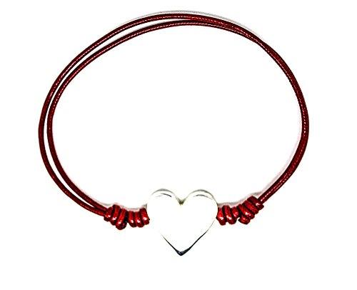 Kokomorocco Pulsera corazón de Plata de Ley, cordón de algodón Color Rojo Ajustable, Mujer o niña Regalos Originales
